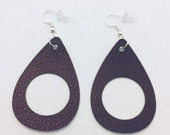 Leather Teardrop Earrings, Trendy Leather Cut Out Earrings in 5 Shades: Black, Brown, Copper,Blue and Green, 2 inches long, Silver Ear Wire