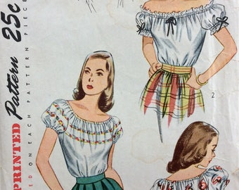 Simplicity 2127 vintage 1940's misses peasant blouse sewing pattern size 14? bust 32? or size 18 bust 36