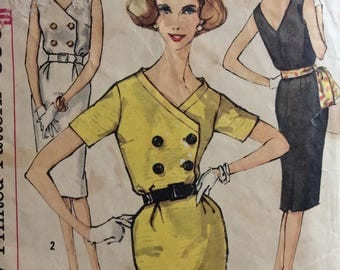 Simplicity 3432 misses dress with button front size 10 bust 31 vintage 1960's sewing pattern