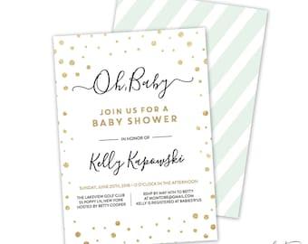 Gold Baby Shower Invitation - Baby Shower Invitation, Invites, Gold and White