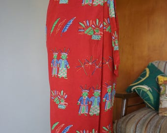 1980's Handmade Novelty Print Cotton Wrap Skirt Size Small