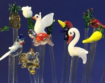 Gift Set of 10 Hand pulled Glass Swizzlesticks Stir Sticks Random Birds, Flowers, Animals Cocktail