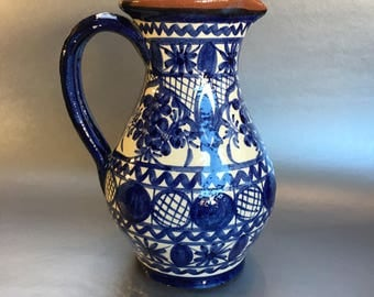 Red Clay Hand Crafted Signed Cobalt Blue Pottery Pitcher Portugal 9""