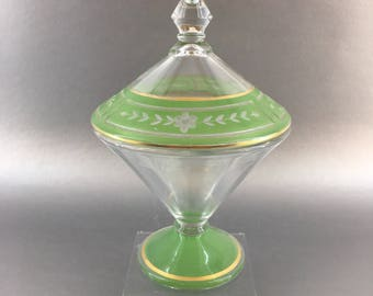Vintage Green and Gold Art Deco Crystal Covered Pedestal Candy Bowl