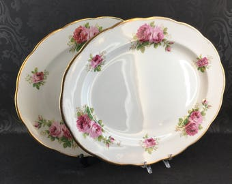 "Royal Albert American Beauty 15"" Large Oval Serving Platter Bone China England vintage"