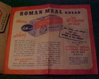 Cisco Kid Advertising Butternut Roman Meal Bread 8 Fold Flyer