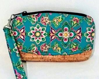 Clematis Clutch, Clematis Wristlet, Wristlet, Makeup Bag, Zipper Bag, Evening Bag, carry all, organizer, toiletry bag, phone case, floral