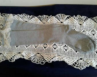 Gray Lace Boot Sock