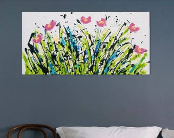 Abstract Flowers, 12 by 24 inch, Acrylic painting on canvas, Spring painting, Flower painting