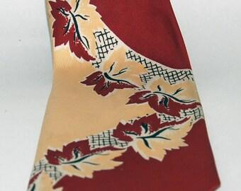 1940s-'50s era Swing Necktie in a Bold Foliate Pattern -- Free Shipping