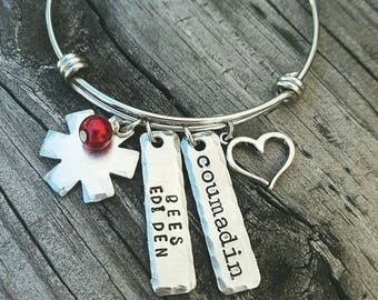 Medic Alert Bracelet - Custom Medical Alert Bangle - Medical ID - Medical Alert Jewelry - Diabetic - Allergy Bracelet - Pretty Bracelet