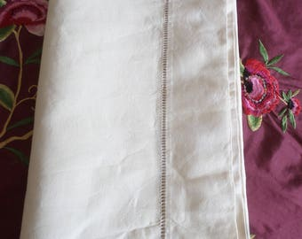 SALE.  Perfect! Vintage French Ecru Metis Long Traversin Bolster Pillowcase with Ladder work ends.