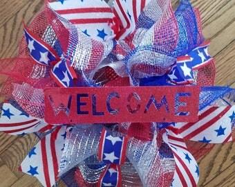4th July Wreath, Patriotic Wreath, USA Wreath, America Wreath, Labor Day Wreath, Memorial Day Wreath, Welcome Wreath, Small Wreath