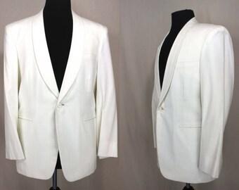 White Dinner Jacket   60's White Dinner Jacket With Shawl Collar