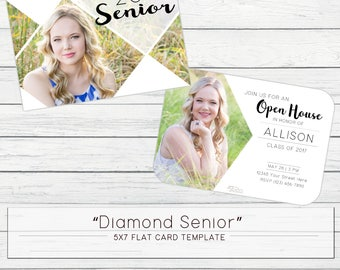 5x7 Diamond Senior 2018 Flat Card Template - WHCC