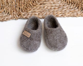 kids felt slippers- toddler baby- eco girl slippers- children slippers- kids house shoes- baby shower gift- cute slippers- personalized gift