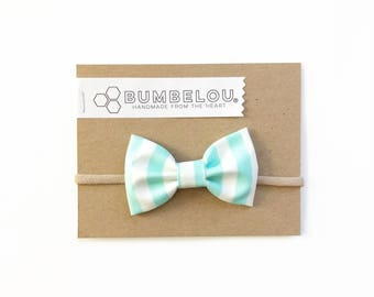 Classic Fabric Bow - English Mint Stripe - Headband or Clip
