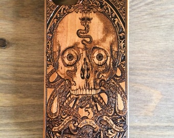 Cthulhu Wooden Engraved iPhone 8 Case, Samsung Galaxy S7 Edge Cover, Cthulhu Gift Idea, Wooden Mobile Phone Case, Galaxy Case for S6,S8 Plus