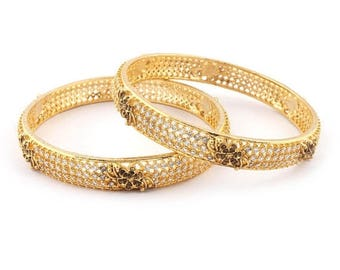 VALENTINE DAY SALE 2 Pcs 24 Ct Gold Plated Cubic Zirconia Bangle - Best Quality 24 Ct Gold Plated Bangle Size:2.20 Cz040