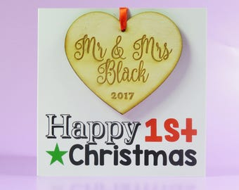 First Christmas Card Wooden Decoration Mr and Mrs Just Married Christmas Gift Keepsake Wedding Present Xmas Decoration First Xmas