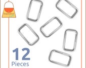"1 Inch Rectangle Wire Loops / Rings, Nickel Finish, 12 Pieces, Purse Handbag Bag Making Hardware Supplies, Rectangular, 1"", RNG-AA011"