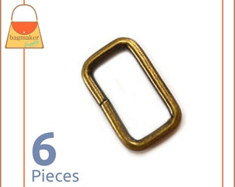 "1 Inch Rectangle Wire Loop / Ring, Antique Brass / Bronze Finish, 6 Pieces, Purse Handbag Bag Making Hardware, Rectangular, 1"", RNG-AA163"
