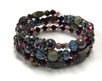 Amethyst Purple Pink memory wire bracelet