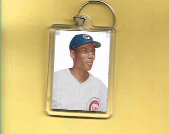 Chicago Cubs Ernie Banks Hall-of-Fame Baseball Plastic Keychain