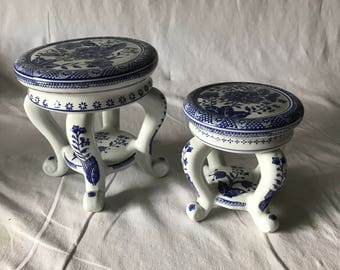 Vintage pair of Formalities Vase Plant Stands Porcelain blue and white Cottage Antique home decor Blue and White collectibles display