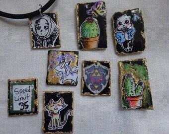 Mix Media Necklace, Collage pendant,Faux Solder Necklaces, Cactus Necklace, Undertale sans necklace, Geek Necklace,GamerJewelry