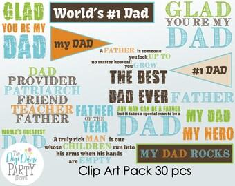 Father/Dad Digital Scrapbooking Clip Art, Buy 2 Get 1 FREE. Instant Download