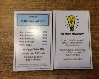 1 Complete Set of Monopoly Property Deed Cards for your repurposing