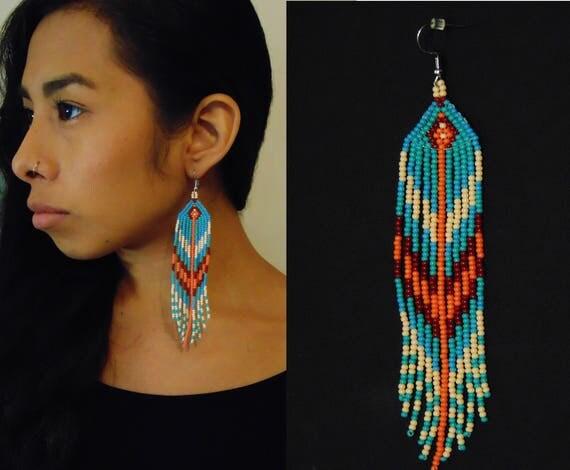 Tribal Boho Earrings, Boho Beaded Earrings, Native American Style Beaded Earrings, High Fashion Tribal Earrings, Geometric Earrings