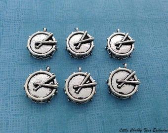 8 Pieces Gold Silver Drum (3D) Charm Pendant Jewelry Craft DIY CS224