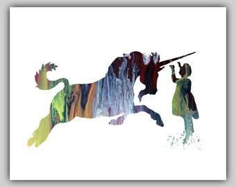 Unicorn print, unicorn prints, unicorn art, girl wall, water color prints, watercolor print, girl toddler, Watercolor, water color, colorful