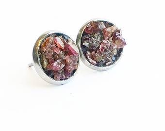 Raw crushed garnet stud earrings