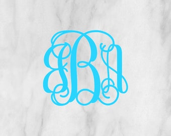 Vine Monogram Decal / Laptop monogram / Car monogram / Bottle Monogram / Notebook monogram / car decal / monogram decal