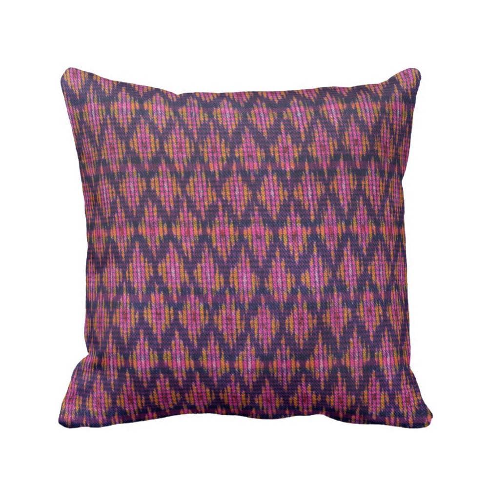 Thai Ikat Printed Throw Pillow, Pink, Purple