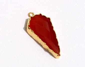 1 Pc 31x15mm 22kt Gold Plated Red Onyx Arrowhead Pendant Or Connector, You Pick Single Loop Pendant Or Double Loop Connector /Findings CHC13