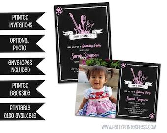 Rock Star Birthday Invitations - Pink Rockstar Invitations - Photo Rockstar Invite - Pink and Black - Girl Rock Star - Printed Invitations