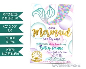 Printable Mermaid Baby Shower Invitation - Mermaid Baby Shower Invites - Purple Mermaid Invitations - Girl Baby Shower Invitations - Glitter