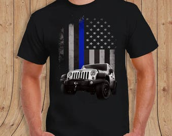 American Flag thin blue line Jeep Shirt Black- t-Shirt Mens / womens