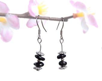 Black silver jewelry nature, tourmaline earrings, nature earrings, gemstone jewelry tourmaline, black gemstone earrings, silver earrings fyc