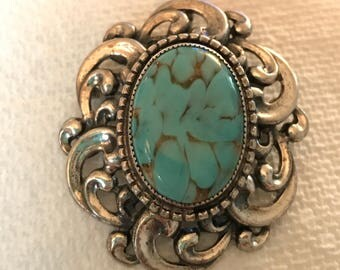 Vintage Danecraft Sterling Silver & Turquoise Pin