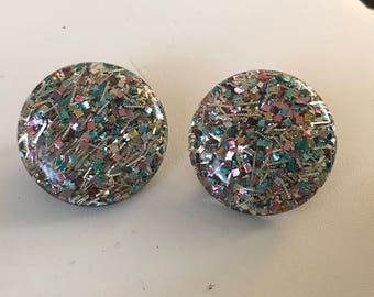 Large 1950's Lucite Confetti Earrings