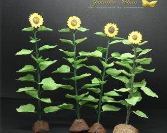 OOAK Sunflower ~ Dolls House Miniatures ~ 12th Scale