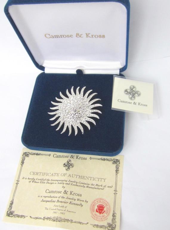Camrose & Kross signed Kennedy (JBK) Domed, stylized Starburst Comet, org. box, certificate, romance card ~vintage costume jewelry