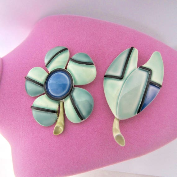 HAR signed MONDRIAN style daisy & tulip Enamel Flower Pins ~collectible, vintage costume jewelry