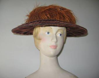 Edwardian-Era Brown Velvet Wide Brim Hat with Ostrich Plumes!