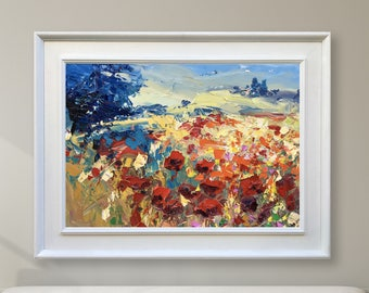 Abstract Landscape Painting Poppies Painting Oil Painting Landscape Art Landscape Wall Art Modern Painting Tuscan Painting Country Art Italy